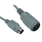 RS PRO 150mm Male 5 Pin DIN to Female 6 Pin Mini DIN Grey KVM Mixed Cable Assembly
