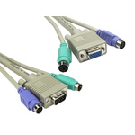 RS PRO 2m Male 2 MTR PS2, Male SVGA to Female PS2, Female SVGA Grey KVM Mixed Cable Assembly