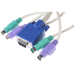 RS PRO 10m PS/2 x 2, VGA to PS/2 x 2, VGA KVM Mixed Cable Assembly