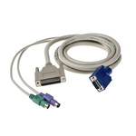 RS PRO 1.8m PS/2 x 2, VGA to DB25 KVM Mixed Cable Assembly