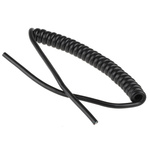 160mm 15 Core Coiled Cable 0.05 mm² CSA Polyvinyl Chloride PVC Sheath Black, 5.2mm OD