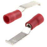 RS PRO Hooked Insulated Crimp Blade Terminal 16.8mm Blade Length, 0.5mm² to 1.5mm², 22AWG to 16AWG, Red