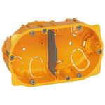 Legrand Batibox Yellow Plastic Back Box, NF, IP00, Drylining Mount, 2 Gangs