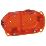 Legrand Batibox Orange Plastic Back Box, NF, IP00, Flush Mount, 2 Gangs