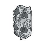 Legrand Ecobatibox Yellow Plastic Back Box, NF, IP00, Drylining Mount, 2 Gangs