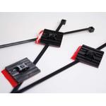 HellermannTyton FlexTack Series, Black Polyamide 6.6 Cable Tie Assemblies200mm x 4.6mm