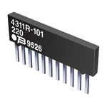 Bourns 4300R Series 1kΩ ±2% Bussed Through Hole Resistor Array, 9 Resistors, 1.25W total SIP package Pin