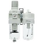 SMC G 3/8 Filter Regulator Lubricator, Manual Drain, 5μm Filtration Size