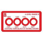 RS PRO Non-Reversible Temperature Sensitive Label, 104°C to 121°C, 4 Levels