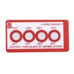 RS PRO Non-Reversible Temperature Sensitive Label, 127°C to 143°C, 4 Levels
