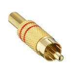 Lumberg Gold, Red RCA Plug, Gold, 5A