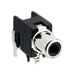 Lumberg Black Right Angle PCB Mount RCA Socket, Tin, 2A