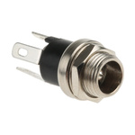 Lumberg, 16 DC Socket Rated At 500.0mA, 12.0 V, Panel Mount, length 13.2mm, Nickel, Silver