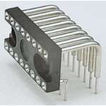 E-TEC 2.54mm Pitch Right Angle 20 Way, Through Hole Turned Pin Closed Frame IC Dip Socket