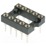 Preci-Dip 2.54mm Pitch Vertical 10 Way, Through Hole Turned Pin Open Frame IC Dip Socket, 1A