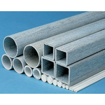 RS PRO Grey Square Glass-Reinforced Plastic (GRP) Tube, 1.15m x 51mm x 3mm