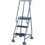 RS PRO 3 Tread Steel Steps 0.77m Platform Height, Blue