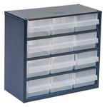 Raaco 12 Drawer Storage Unit, Steel, 283mm x 306mm x 150mm, Blue