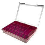 Raaco 15 Cell Red PP Compartment Box, 57mm x 338mm x 260mm