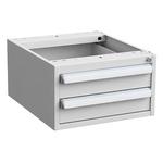 Treston Ltd 2 Drawer Unit, Steel, 260mm x 450mm x 520mm, Grey
