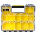 Stanley 10 Cell Black, Yellow Compartment Box, 74mm x 446mm x 357mm