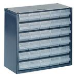 Raaco 30 Drawer Storage Unit, Steel, 283mm x 306mm x 150mm, Blue
