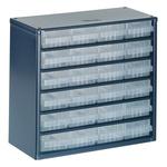 Raaco 24 Drawer Storage Unit, Steel, 283mm x 306mm x 150mm, Blue