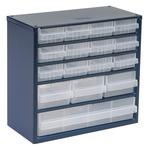 Raaco 16 Drawer Storage Unit, Steel, 282mm x 306mm x 150mm, Blue