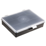 Raaco 7 Cell Black PP Compartment Box, 40mm x 179mm x 151mm