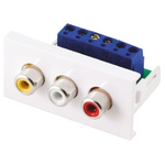 RS PRO Triple Gang 3 Way Female RCA Faceplate