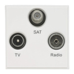 FM, SAT, TV White Female 3 Outlet TV Aerial Connector, Wall Mount