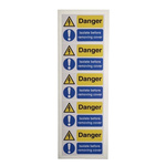 RS PRO Black/Blue/White/Yellow Vinyl Safety Labels, Danger Isolated Before Removing Cover-Text 40 mm x 60mm