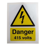 RS PRO Black/White/Yellow Vinyl Safety Labels, Danger 415 Volts-Text 200 mm x 150mm