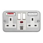 Contactum 13A, BS 7288 Fixing, Active, 2 Gang RCD Socket, Metal Clad, Wall Mount , Switched, IP2X, 230V ac, Grey,