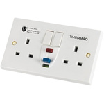 Theben / Timeguard 30A, BS Fixing, Active RCD Socket, Plastic, Surface Mount , Switched, 230V ac, White