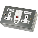 Theben / Timeguard 30A, BS Fixing, Passive RCD Socket, Plastic, Surface Mount , Switched, 230V ac, Twin Metal
