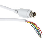 2m 9-Pin Male Moulded Plug to Free End White DIN Video Cable Assembly