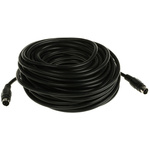 15m 4-Pin Male Mini-DIN to 4-Pin Male Mini-DIN Black SVHS Audio Video Cable Assembly
