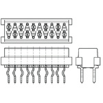 TE Connectivity, Micro-MaTch 2.54mm Pitch 16 Way 2 Row Straight PCB Socket, Through Hole, Solder Termination