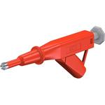 Staubli 24A Red Grabber Clip, 600V Rating - 5mm Tip Size, 4mm Probe Socket Size
