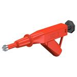 Staubli 24A Red Grabber Clip, 600V Rating - 6mm Tip Size, 4mm Probe Socket Size