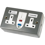 Theben / Timeguard 30A, BS Fixing, Active RCD Socket, Plastic, Surface Mount , Switched, 230V ac, Twin Metal