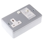 MK Electric Metalclad 13A, BS Fixing, Active, Single Gang RCD Socket, Steel, Surface Mount , Switched, 240V ac, Grey