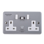 Power Breaker PowerBreaker H 13A, BS Fixing, Passive, 2 Gang RCD Socket, Metal Clad, Surface Mount , Switched, 230V ac,
