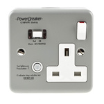 Power Breaker PowerBreaker H 13A, BS Fixing, Passive, Single Gang RCD Socket, Metal Clad, Surface Mount , Switched,