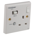 Power Breaker PowerBreaker H 13A, BS Fixing, Passive, Single Gang RCD Socket, Polycarbonate, Surface Mount , Switched,