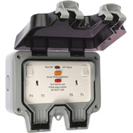 BG Electrical 13A, BS Fixing, Active, 2 Gang RCD Socket, Polycarbonate, Surface Mount , Switched, IP66, 230V ac, Grey,