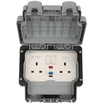 MK Electric Masterseal plus 13A, BS Fixing, Active, 2 Gang RCD Socket, Polycarbonate, IP66, Grey Matt