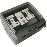Theben / Timeguard 13A, BS Fixing, Active, 2 Gang RCD Socket, Thermoplastic, Surface Mount , Switched, IP66 , Outdoor,