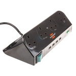brennenstuhl 1m 4 Socket Type G - British, USB Extension Lead, 230 V